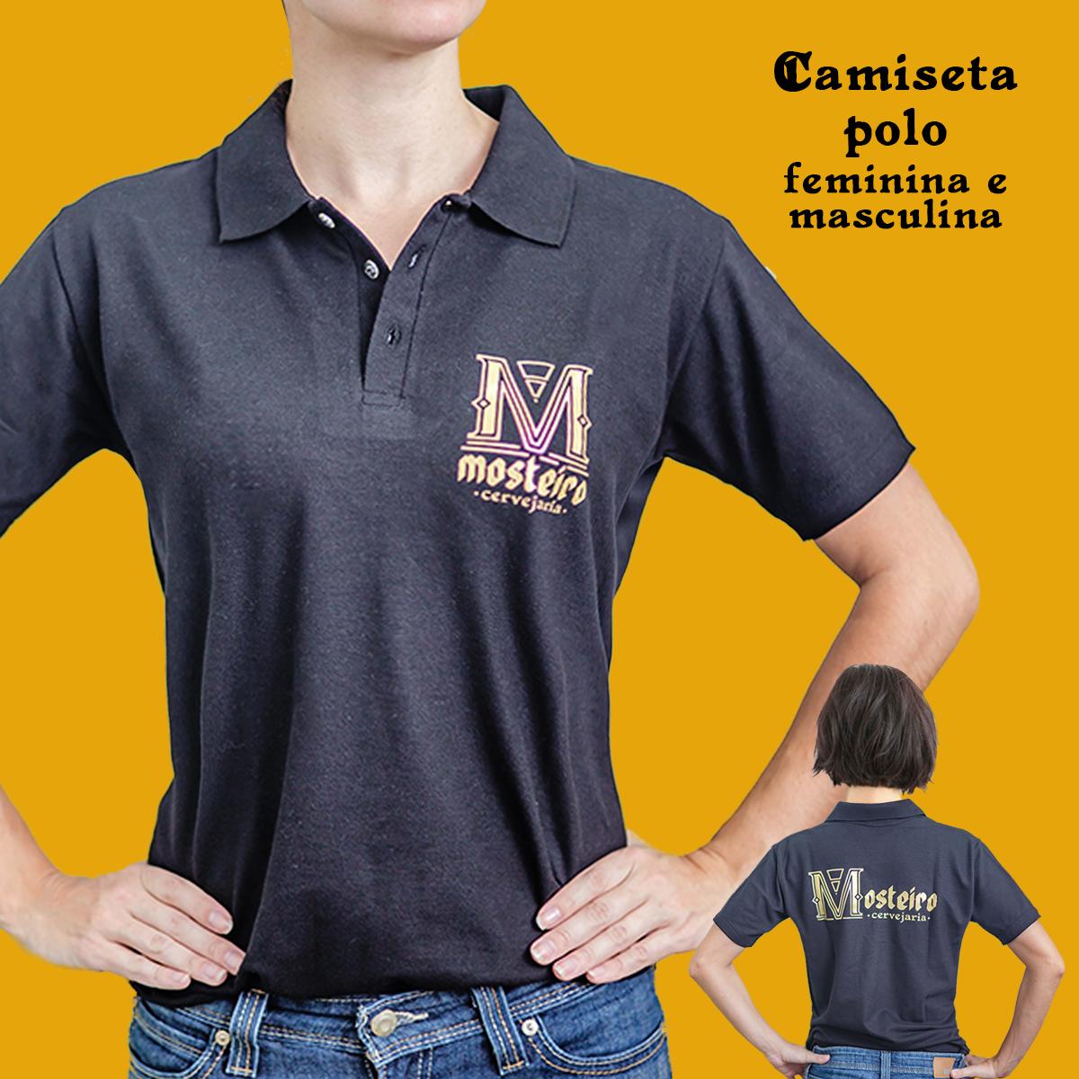 Camiseta gola polo em malha piquet estampa em silk
